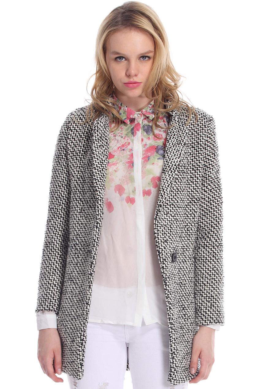 ROMWE | Pocketed Houndstooth Grey Coat, The Latest Street Fashion