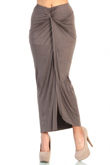 LoveMelrose.com From Harry & Molly   Knot Front Maxi Skirt with Slit Detail- Cappuccino