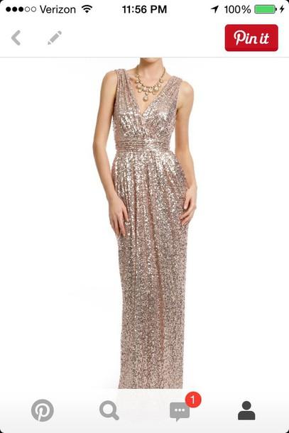 dress sequin gold long dress