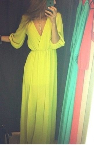 Maxi Dress Flowy Empire Waist Chartreuse Yellow L K | eBay