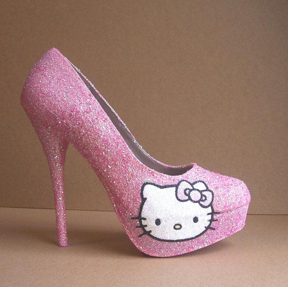 Pink Hello Kitty Glitter High Heels on Wanelo
