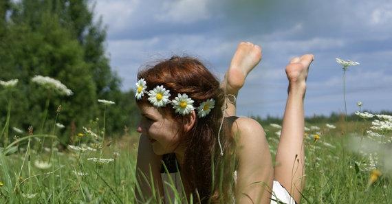 Daisy Headband Daisy Flower Crown Hippie Headband door DreamBlossoms