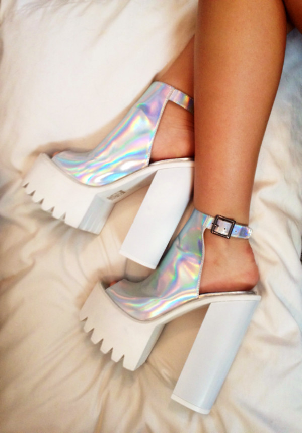 shoes holographic shoes platform high heels peep toe boots ankle boots chunky heels