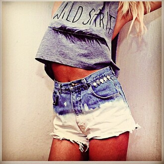 tank top wild dip dyed hipster feathers shorts summer