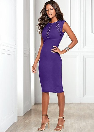 dress purple laced bodycon dress midi dress