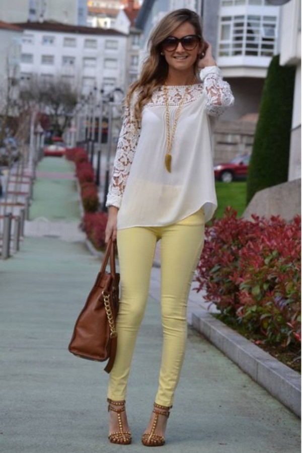 blouse shirt es closet escloset fashion fashionista style style diaries instagram instastyle beautiful lace crochet top shoes jeans yellow skinny jeans pastel yellow jeans