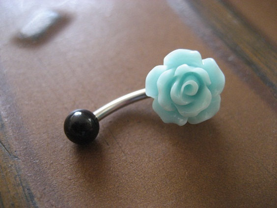 Sea Foam Rose Belly Button Ring Pastel Minty Mint by Azeetadesigns