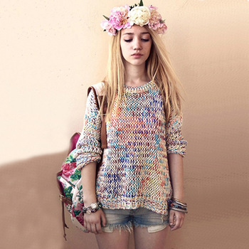 Topshop casual coarse knitting loose rainbow line sweater thick yarn-inSweaters from Apparel & Accessories on Aliexpress.com