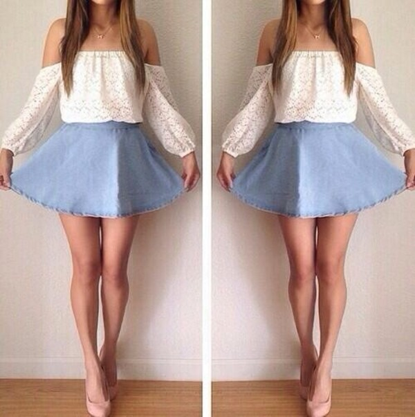 shirt white jewels peasant top skirt blouse blue jean skirt white shirt white lace top off the shoulder top