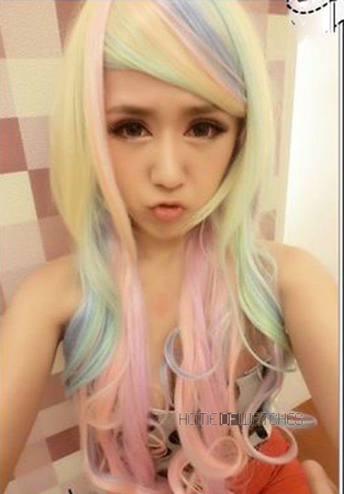 Multi Color Curly Rainbow Hair Wig Charming Cosplay Fashion Wigs | eBay