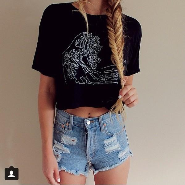 t-shirt shorts denim shorts black t-shirt