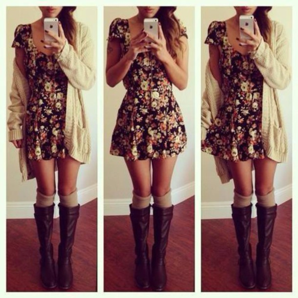 dress floral dress skater dress cardigan shoes socks phone cover