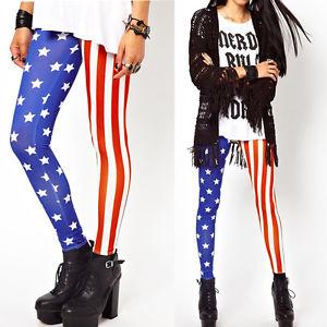 Sexy Women Stars Stripes Leggings USA American Flag Stretchy Tights Pants | eBay