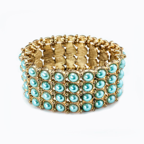 jewels pearl links bracelet - turquoise pearl links bracelet