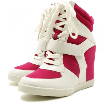 Buy Georgia Hi-Top Hidden Wedge Trainer Shoes - Pink / White
