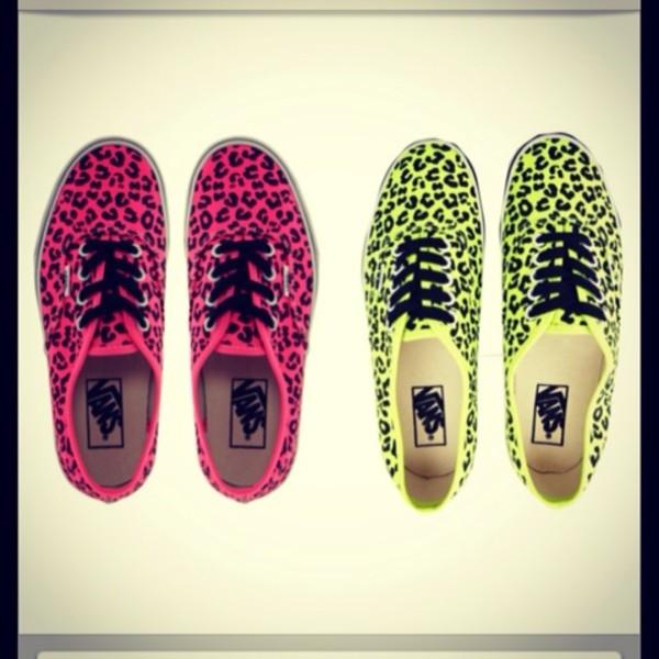 shoes vans pink neon yellow leopard print leopard print