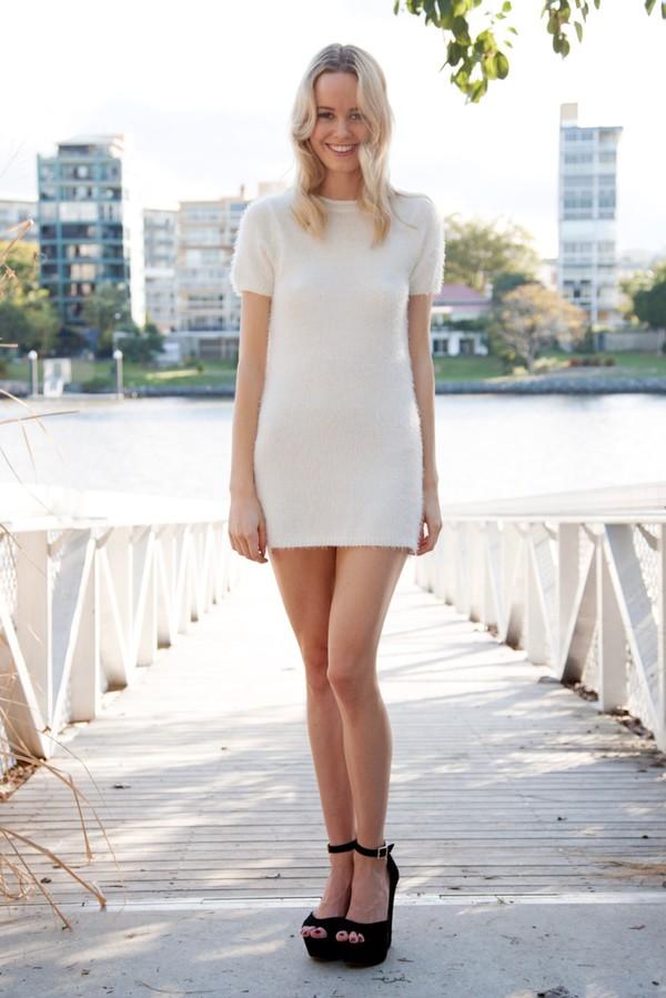 dress white fluffy knit cute shift sleeves winter outfits shopfashionavenue