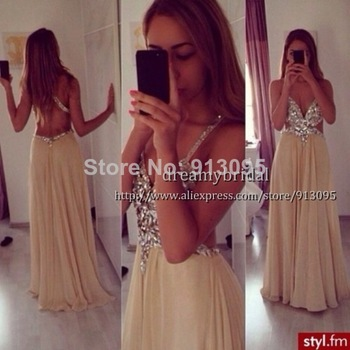 Aliexpress.com : Buy Hot selling! Attractive Chiffon Pearl Pink V Neck Sleeveless Natural floor Length Applique Formal Evening Dress 2013 New arrival from Reliable arrival point suppliers on Suzhou dreamybridal Co.,LTD