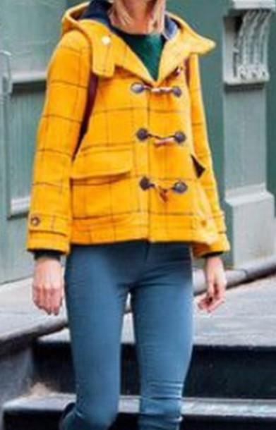 coat yellow checkered vintage