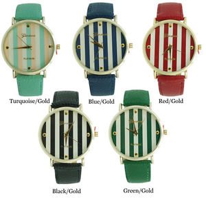 Geneva Platinum Round with Stripes Ladies Leather Strap Fashion Watch USA | eBay