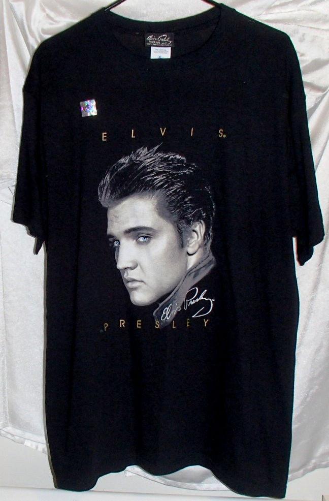 Elvis Presley Graceland Portrait Signature Black Cotton T Shirt Mens Size XL New | eBay