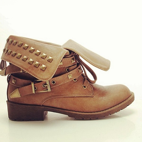 shoes outback adventurer adventure studded buckles boots tan vanityv vanity row dress to kill rock vogue
