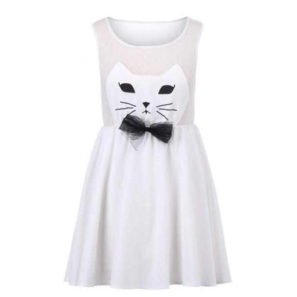 dress white cat dress