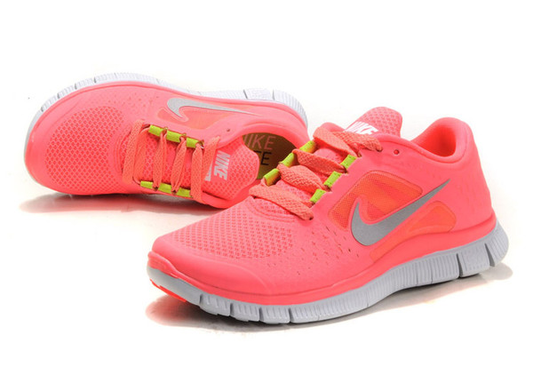 shoes coral sneakers trainers running neon neon pink nike free run nike free run nike freerun 5.0 nike