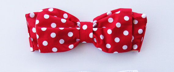 Vintage Bow Bandeau.  DiVa Halter Neck Top. Red by PitaPataDiVa