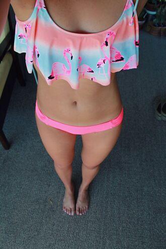 swimwear flamingo bikini girly ruffle pink love pink swimwear victoria's secret beach tumblr girl pink by victorias secret orange