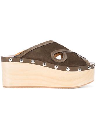 wood women sandals platform sandals leather green shoes