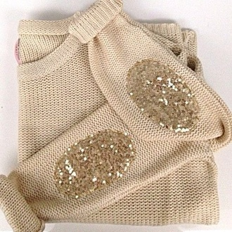 gold gold sequins sequins sequin shirt sweater shirt t-shirt blouse fall sweater winter sweater fashion style cute girly elbow patches