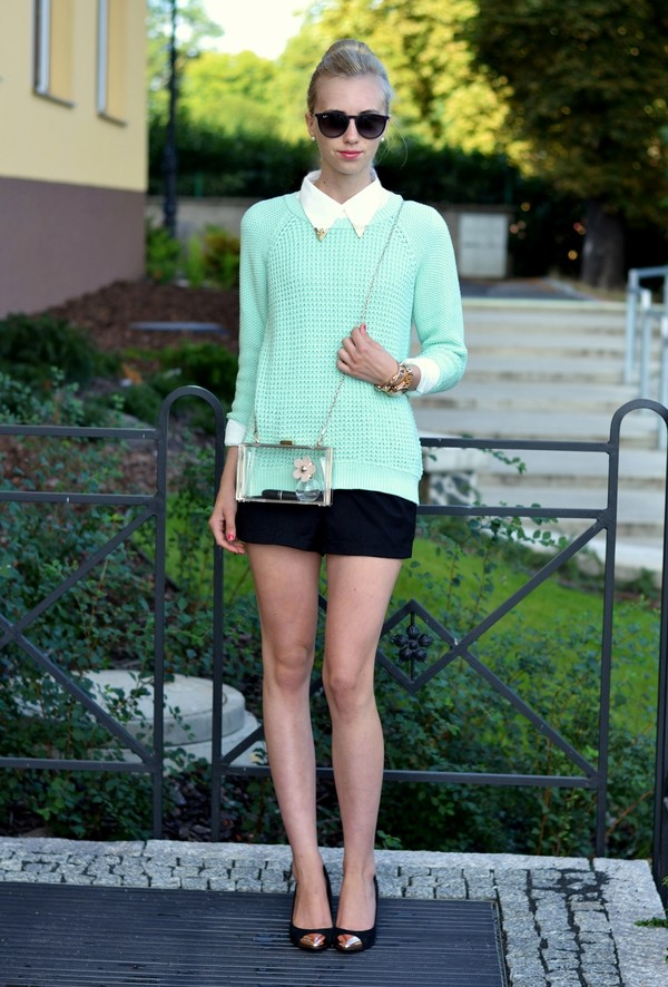 vogue haus sweater blouse shorts shoes bag sunglasses jewels