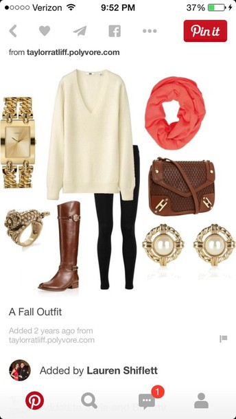 sweater outfit fashion ideas style scarf pants