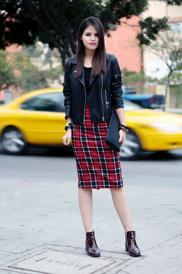 fake leather jacket bag skirt shoes jewels