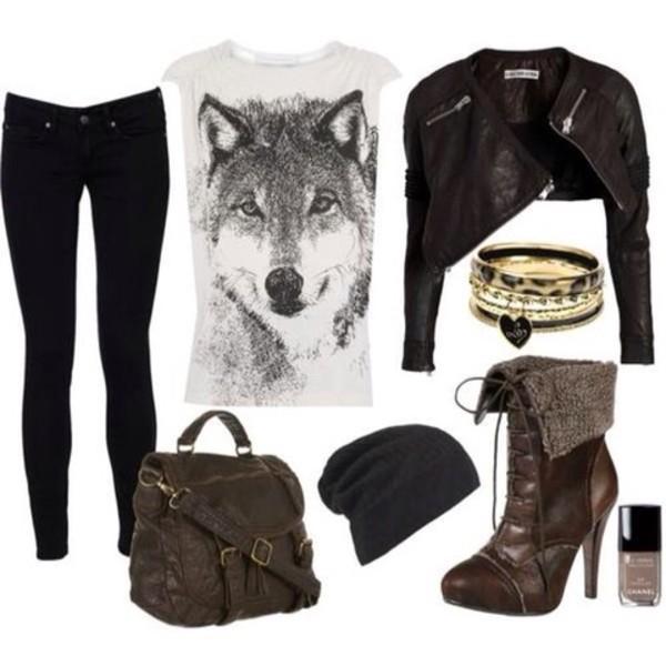 bag shirt jacket jeans hat jewels shoes ahirt wolf hipster converse black scarf bracelets necklace