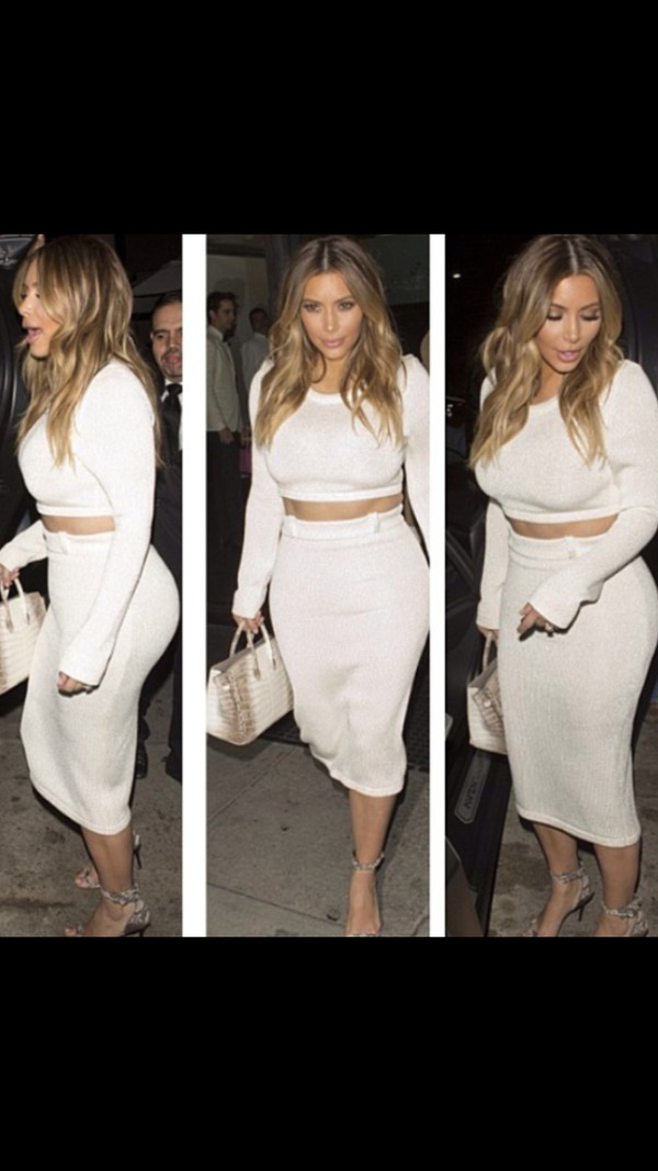 dress kim kardashian crop tee and skirt pencil skirt crop tops fashion hermes bag birkin bag sandals heels sandal heels style summer outfits spring summer 2014 kim kardashian dress skirt strappy heels python print blackbarbie white bodycon midi dress jumpsuit