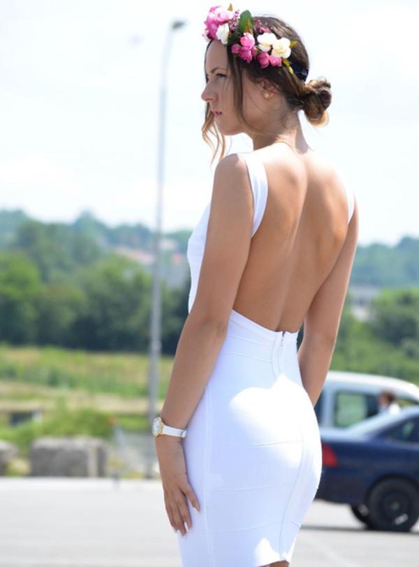 dress white straps 2014 new bandage dress backless dress evening dress v neck graduation