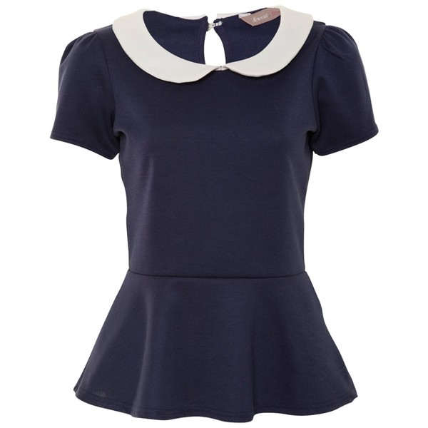 A|Wear Navy Peterpan Collar Peplum Top - Polyvore