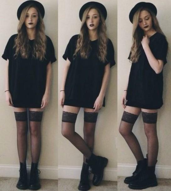 shirt dress black t-shirt dress tights black dress