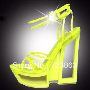 Summer new arrival 2013 women's shoes transparent thick heel open toe sandals yellow platform 14cm ultra high heels sandals-inSandals from Shoes on Aliexpress.com