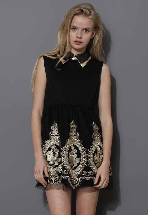 dress gold embroidered sleeveless black