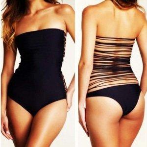 Amazon.com: Sexy Black One Piece Monokini Straps Back Frnges Tassels Bathing Suit Swimwear: Sports & Outdoors