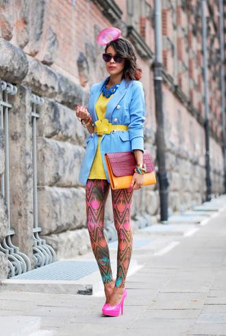 macademian girl jacket blouse shoes bag belt jewels sunglasses