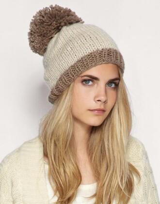 hat pom poms cap cara delevingne bonnet brown beige celebrity