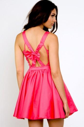 Take A Bow Coral Dress-$70