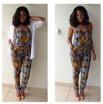 jumpsuit brooooooooooown combinaison african print afro american gorgeous yellow blue killin it long hair high heeled shoes