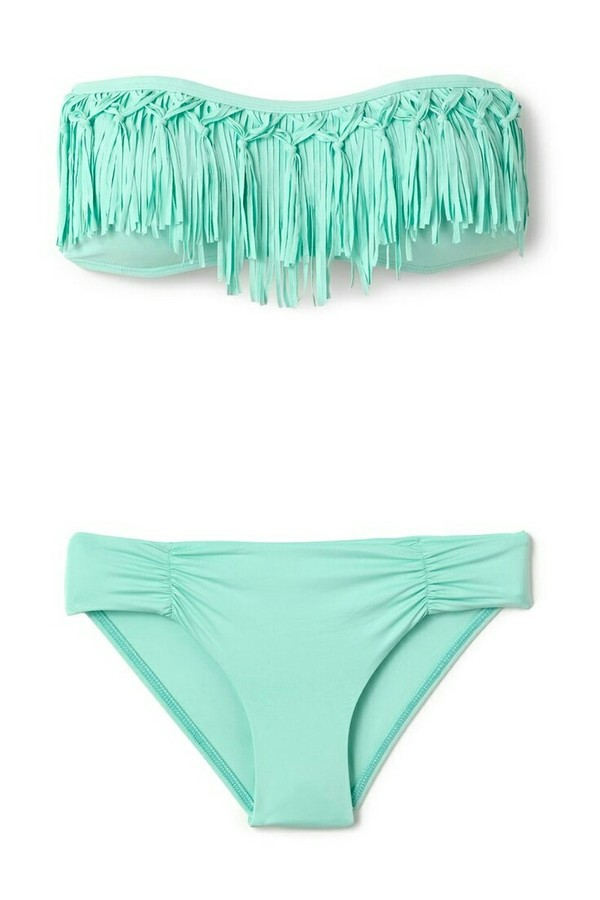 swimwear bikini l space knotted fringe fringe swimwear elite fashion swimwear blue swimwear fringe bikini