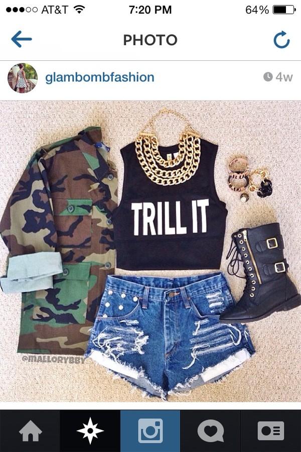 shorts ripped shorts cute light blue shoes shirt jacket jewels tank top trill black crop top