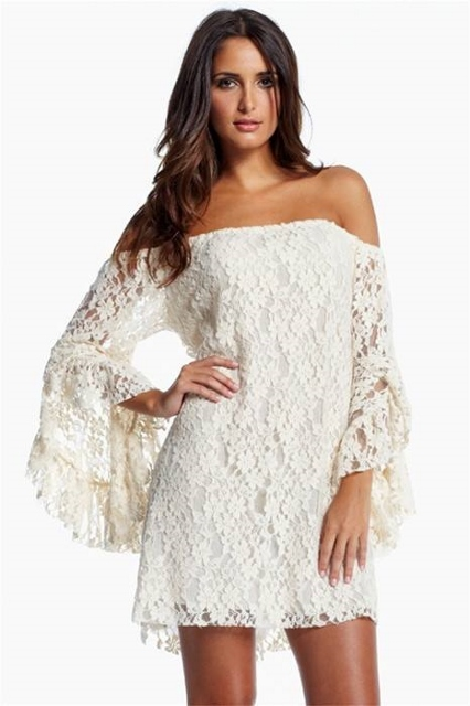 COWGIRL GYPSY White Stretchy Lace Off the Shoulder Long Sleeve Western Mini Dress Tunic Top